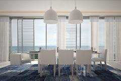 Modern Dining Room with Seascape View. 3d Rendering of Modern Dining Room with Seascape View Royalty Free Stock Images