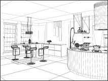 Modern Dining Room Vector Stock Image