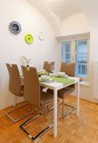 Modern dining room. Modern white dining room interier Royalty Free Stock Photo