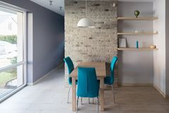 Modern dining room with wooden table, Stock Photos