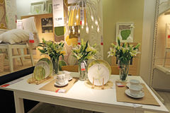 Modern dining table Stock Photos
