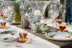 Modern dining table setting stock photo