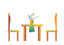 Modern Diningroom. A illustration of a two chairs and the dining table in the dining room Stock Image