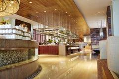 Luxury hotel dinning hall stock photo