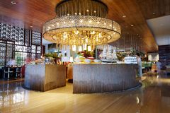 Luxury hotel dinning hall royalty free stock photos