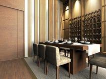 A modern dinning room. Modern dinning room design in 3D rendering Stock Photos