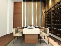 A modern dinning room. Modern dinning room design in 3D rendering Stock Photo