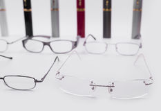 Modern dioptrical frames for plastic and metal glasses with case Stock Photo