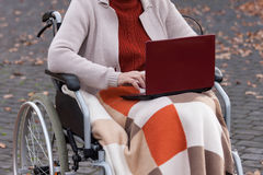 Modern disabled lady on wheelchair Royalty Free Stock Photo