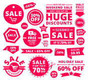 Modern Discount Sale Tags, Badges And Ribbons. Modern big discount badges, ribbons, tags and icons for sale promotions Stock Photos
