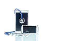 Modern Disease, digital tablet, cell phone and stethoscope Stock Images