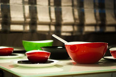 Modern dishes. Green and red modern dishes Royalty Free Stock Images