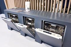 Modern dishwashers on display at store stock photo