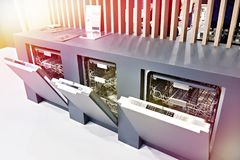 Modern dishwashers on display at store royalty free stock photos