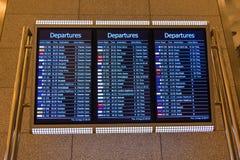 Modern display screens for flight departure status Stock Image