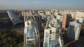 Modern districts of the city of Moscow from above Contemporary mix architecture old and new. Luxury apartments property in Russia. Aerial drone shots. Sunny day stock footage