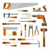 Modern DIY hand tools. Modern DIY carpenter hand tools vector collection isolated on white vector illustration