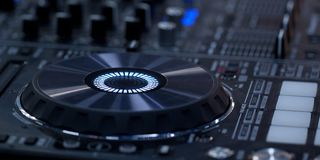 Modern DJ music console. Modern electronic DJ console for music shows royalty free stock photos