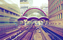 Modern DLR train station in Canary Wharf, London Royalty Free Stock Images