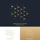 Modern dna för uppsättninglogotypsymbol och molekyl Guld- logo för molekyl Vektormall för medicin, vetenskap, teknologi royaltyfri illustrationer