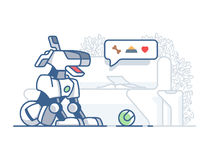 Modern dog robot. Latest technology, artificial pet vector flat illustration Stock Image