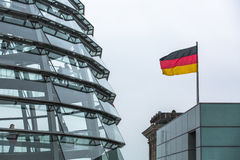 Modern dome on the roof of the Reichstag. Stock Image