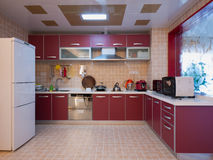 Modern domestic kitchen. With cabinet Royalty Free Stock Images