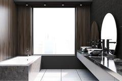 Modern donker houten badkamersidee Stock Foto's