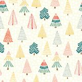 Modern doodle christmas trees in front of snowflakes on a white background. Seamless vector pattern background. Perfect for vector illustration