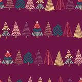 Modern doodle Christmas trees in a row on a dark pink purple background. Seamless vector pattern background. Perfect for holiday royalty free illustration