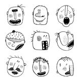 Modern Doodle Drawing Outline Cartoon People Faces Expressions Set Royalty Free Stock Image