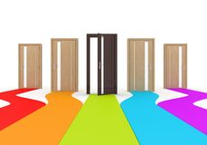 Modern doors with colored way Royalty Free Stock Images