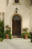 Modern Doorway & Patio. A newly constructed, modern american home doorway and patio Royalty Free Stock Photo