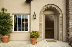 Modern Doorway & Patio. A newly constructed, modern american home doorway and patio Stock Photo