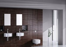 Modern double basin with toilet. A 3d rendering of modern double basin with toilet Stock Photo