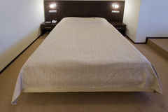 Modern double bed Stock Photo