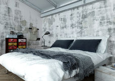 Modern Double Bed in Bedroom with Weathered Walls royalty free illustration