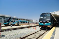 Modern double-decker train at the station in Los Angeles. USA Royalty Free Stock Images