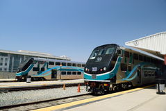 Modern double-decker train at the station in Los Angeles. USA Royalty Free Stock Photo