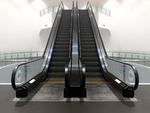 Modern double escalator staircase in shopping mall leading up. Stock Images in HD and millions of other stock photos stock image