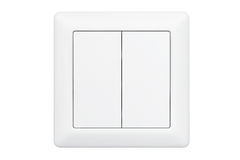 Modern Double Knob Light Switch. On a white background Royalty Free Stock Images