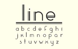 Modern double line display vector font and alphabet. Vector display font. Set of curved letters. Modern double line font and alphabet. Stylish modern font in Royalty Free Stock Photography