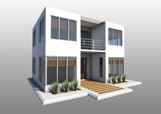 Modern double story  house. A modern double story house with a second floor balcony and large windows Royalty Free Stock Image
