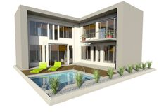 Modern double story house Stock Photos
