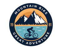 Modern Downhill Bike Logo Badge Illustration. Extreme Mountain Bike Adventure Logo Badge Illustration Royalty Free Stock Photography