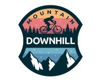 Modern Downhill Bike Logo Badge Illustration. Extreme Mountain Bike Adventure Logo Badge Illustration Royalty Free Stock Images