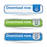 Modern download button set with reflection. And icon Stock Image