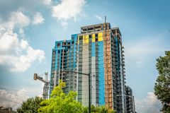 Modern downtown building in the final phase of construction Royalty Free Stock Photography