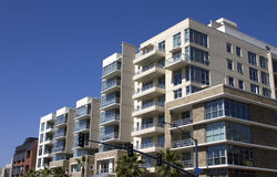 Modern Downtown City Apartment Buildings Stock Photo