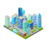 Modern downtown isometric 3D icon. Skyscrapers, apartment, office, houses and streets objects. Low poly buildings vector illustration stock illustration